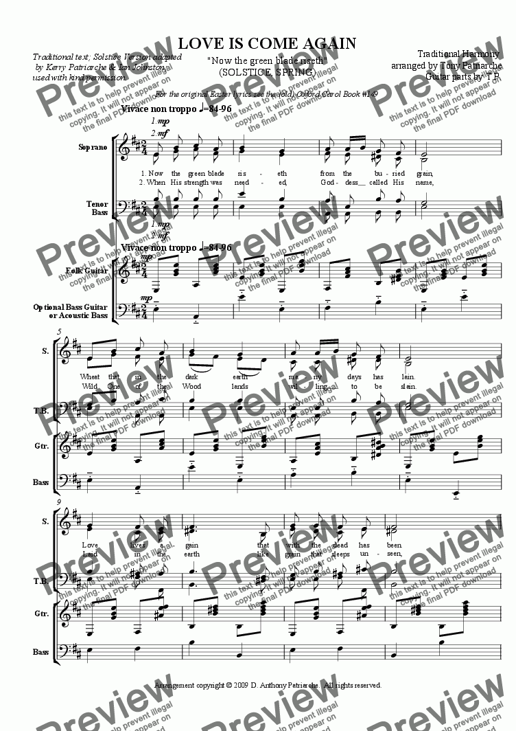 page one of Love is Come Again - Now the Green Blade Riseth (Choir)