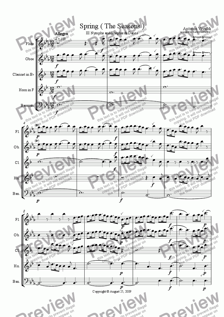 page one of Vivaldi Spring III Nymphs and Shepherds Dance arr. wind quintet