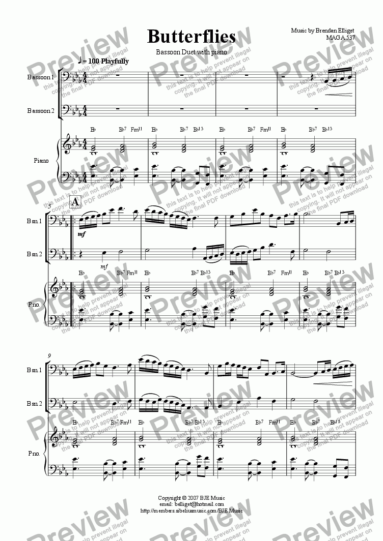 page one of Butterflies - Bassoon Duet with Piano