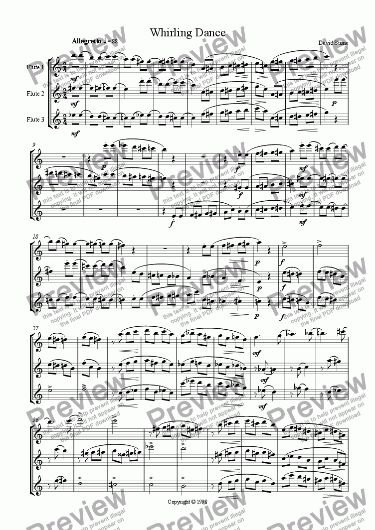 page one of Whirling Dance, for 3 Flutes