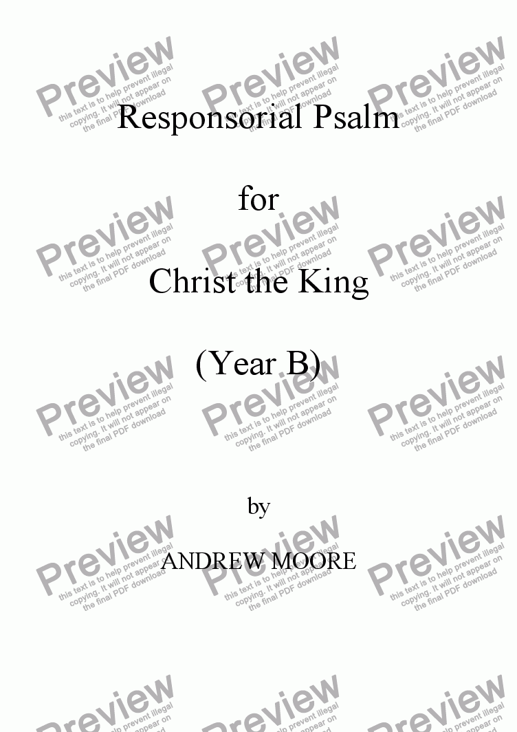 page one of Christ the King (Year B)
