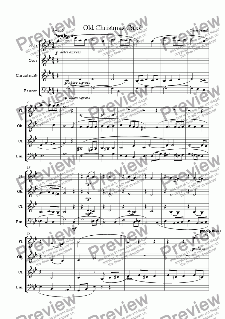 page one of Old Christmas Carol (woodwind qt)