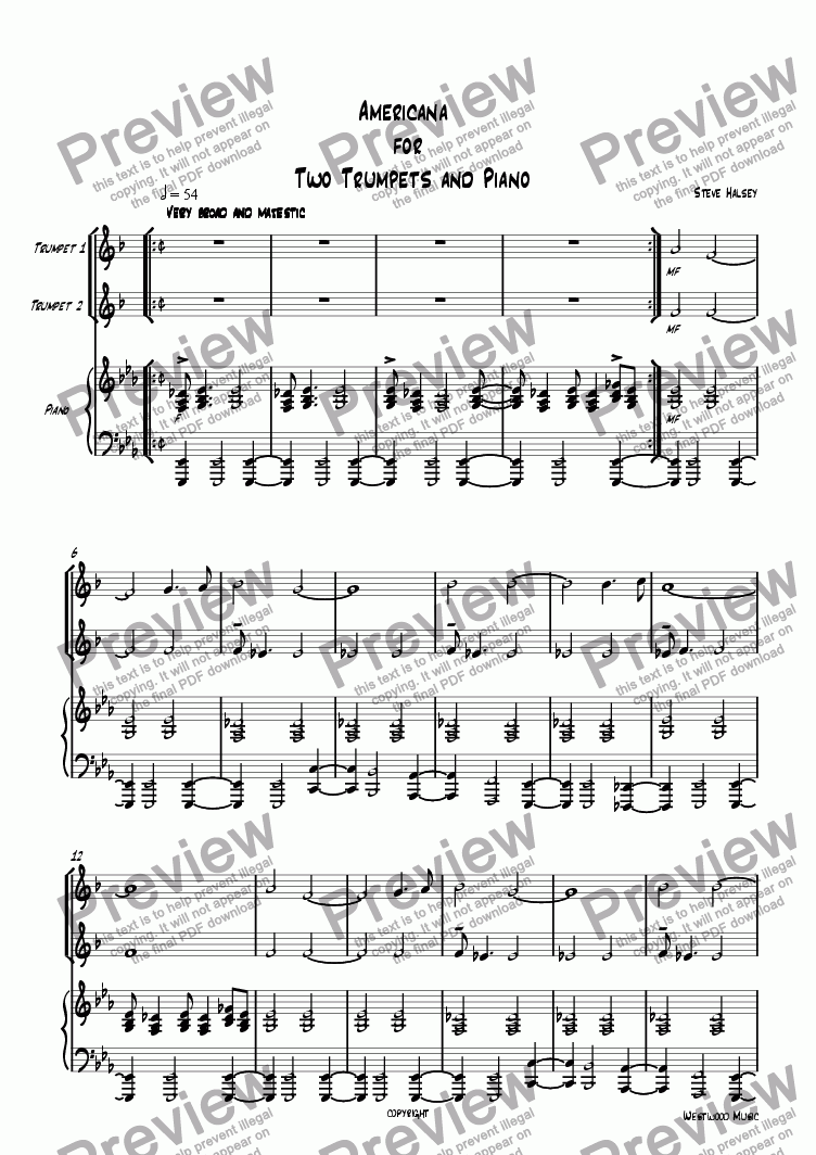page one of Americana Duet for 2 Trumpets and Piano