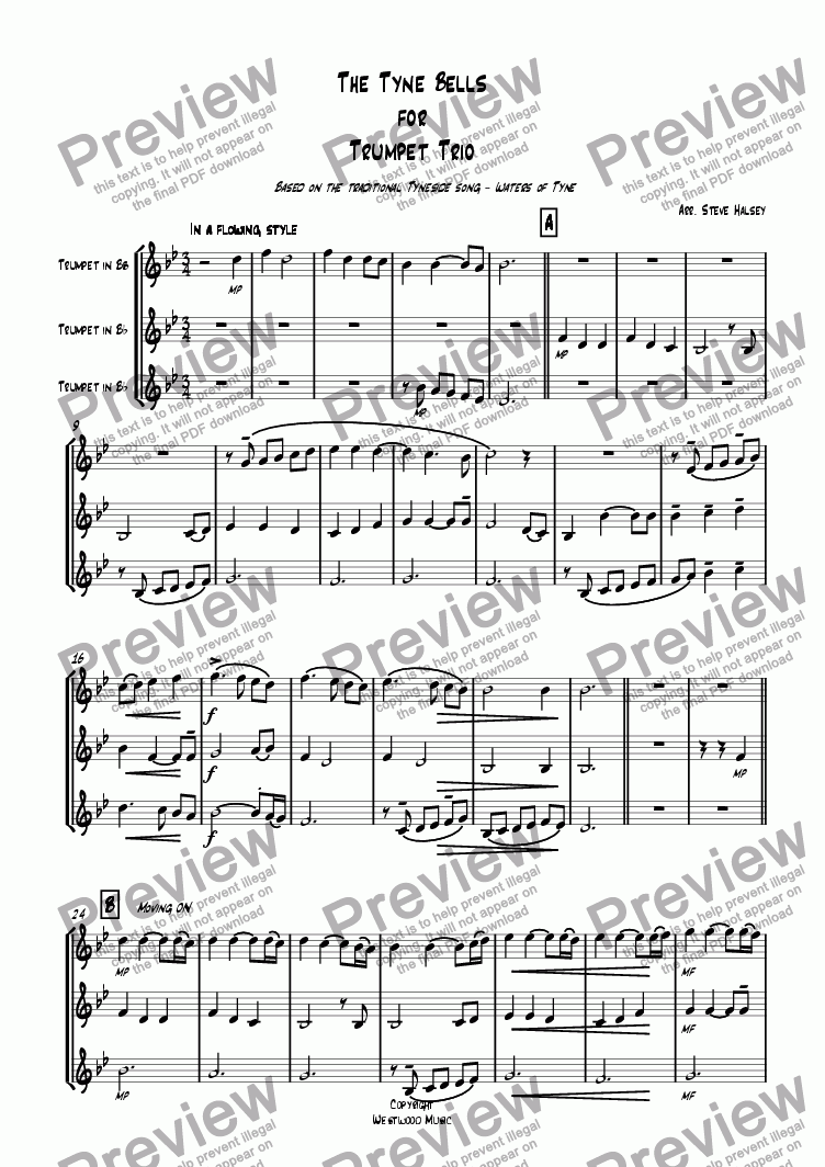 page one of The Tyne Bells for Trumpet Trio