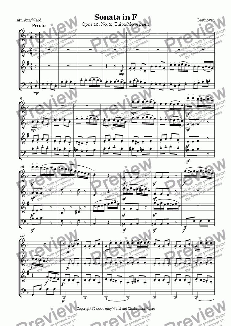 page one of Sonata in F, Op.10, No.2: Presto