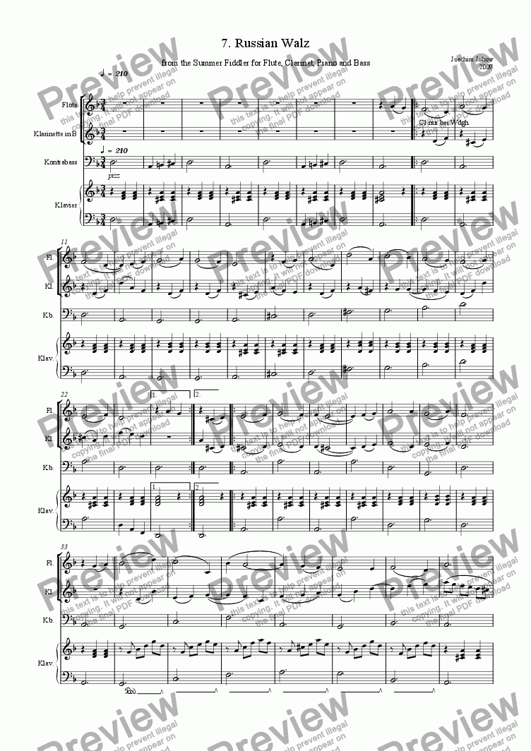 page one of Russian Walz (Fl/Cl/Piano/Bass)