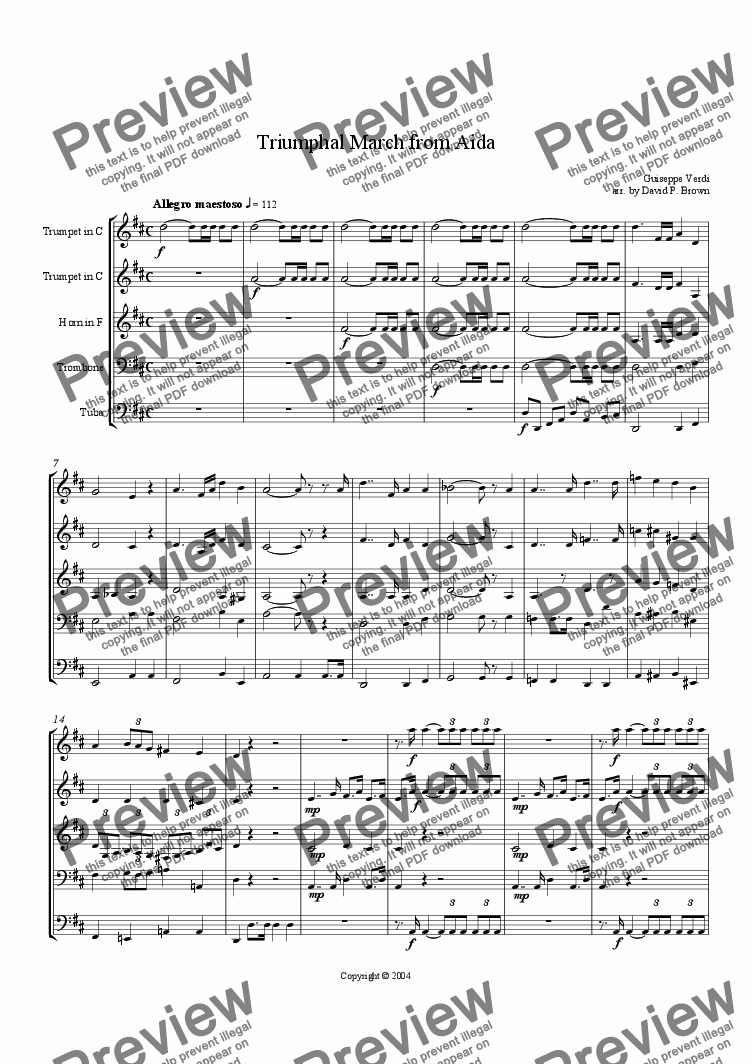 page one of Triumphal March from Aida for Brass Quintet