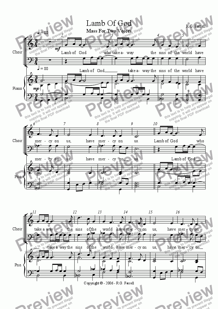 page one of Mass for Two Voices - Lamb of GodASALTTEXT