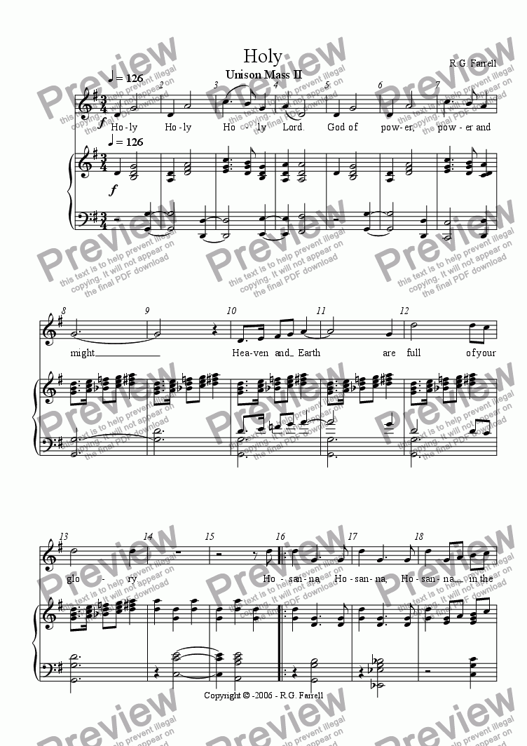page one of Unison Mass #2 - Holy