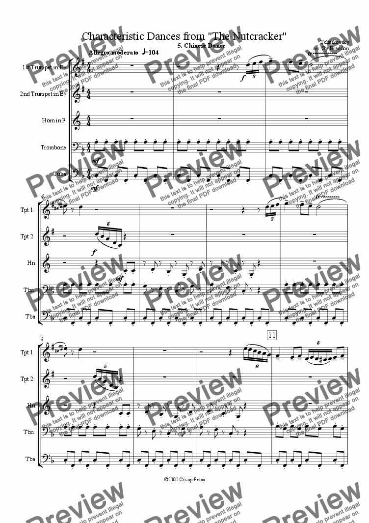 page one of Chinese Dance in F (simplified) from The Nutcracker Suite