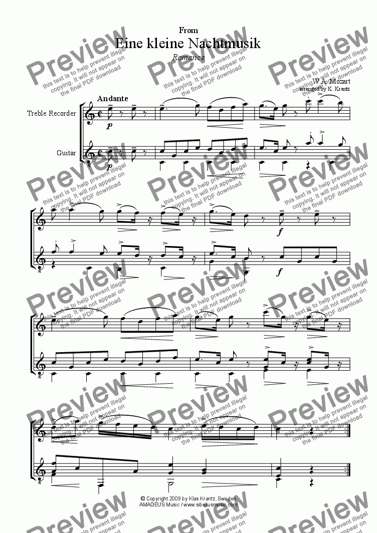 page one of Romance from Eine kleine Nachtmusik for T. recorder and guitar