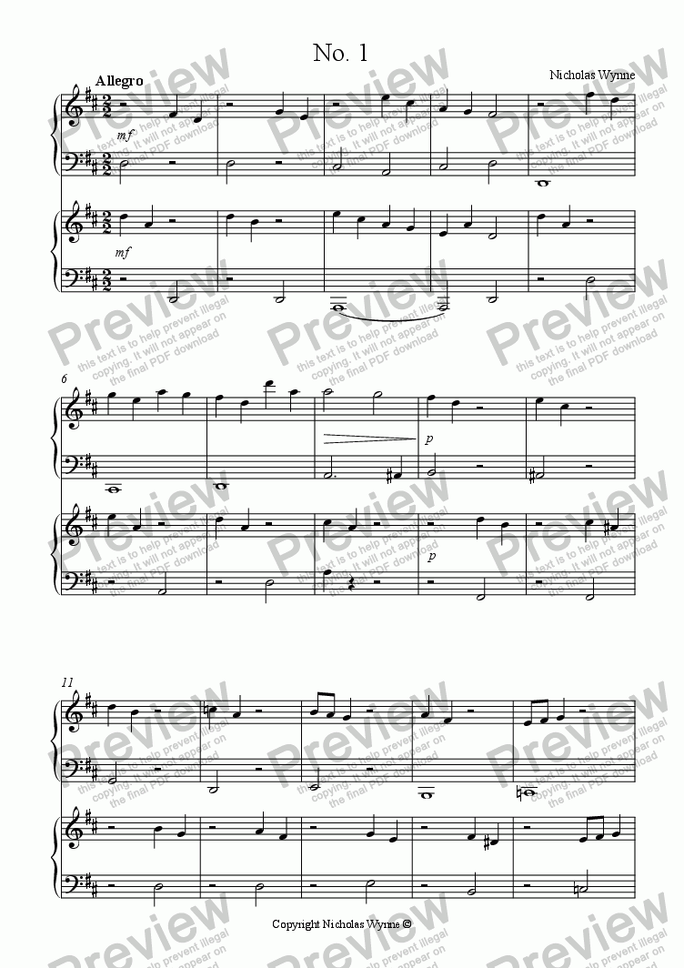 page one of Sight Reading Duets for Pupil and Teacher Book Six