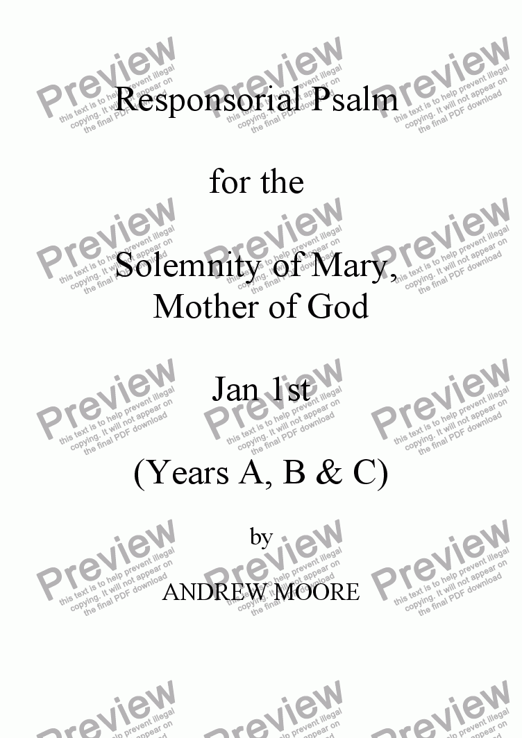 page one of Solemnity of Mary, Mother of God Jan 1st (Year C)