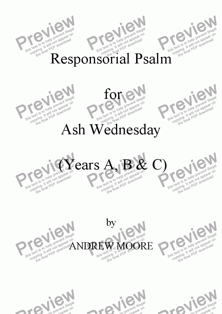 page one of Ash Wednesday (Year C)
