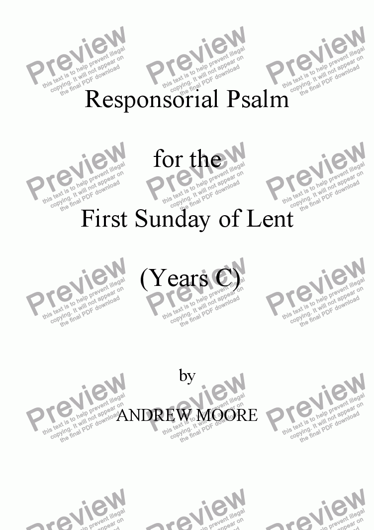 page one of First Sunday of Lent (Year C)