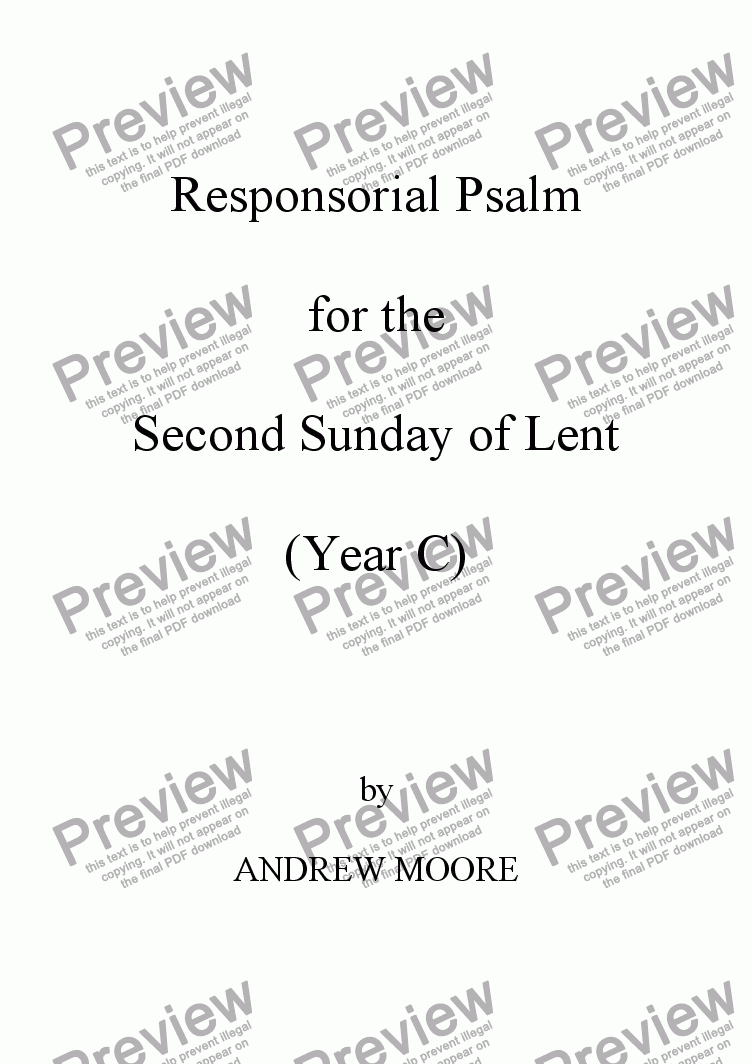 page one of Second Sunday of Lent (Year C)