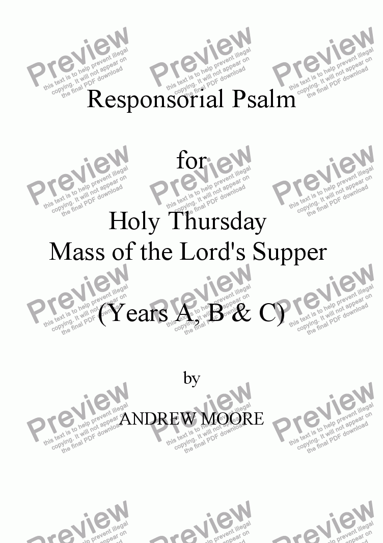 page one of Holy Thursday / Maundy Thursday (Year C)