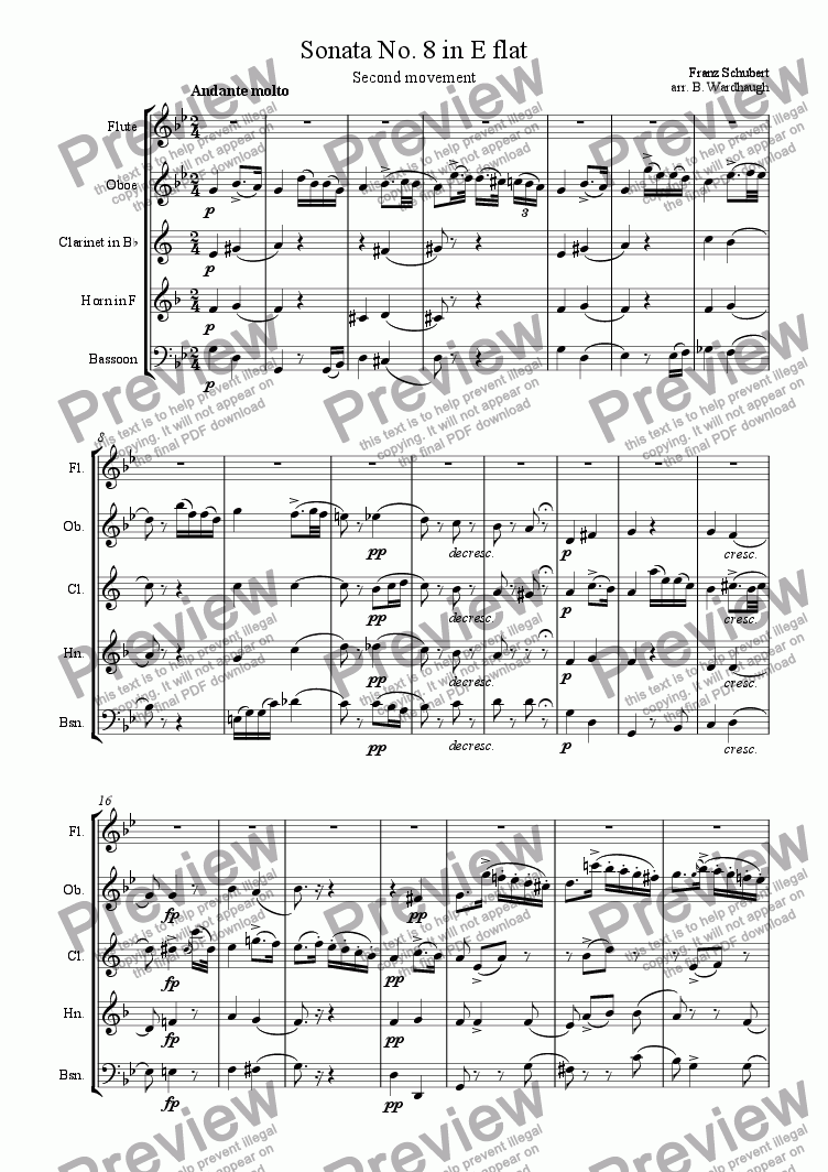 page one of Sonata no. 8 in E flat, second movement