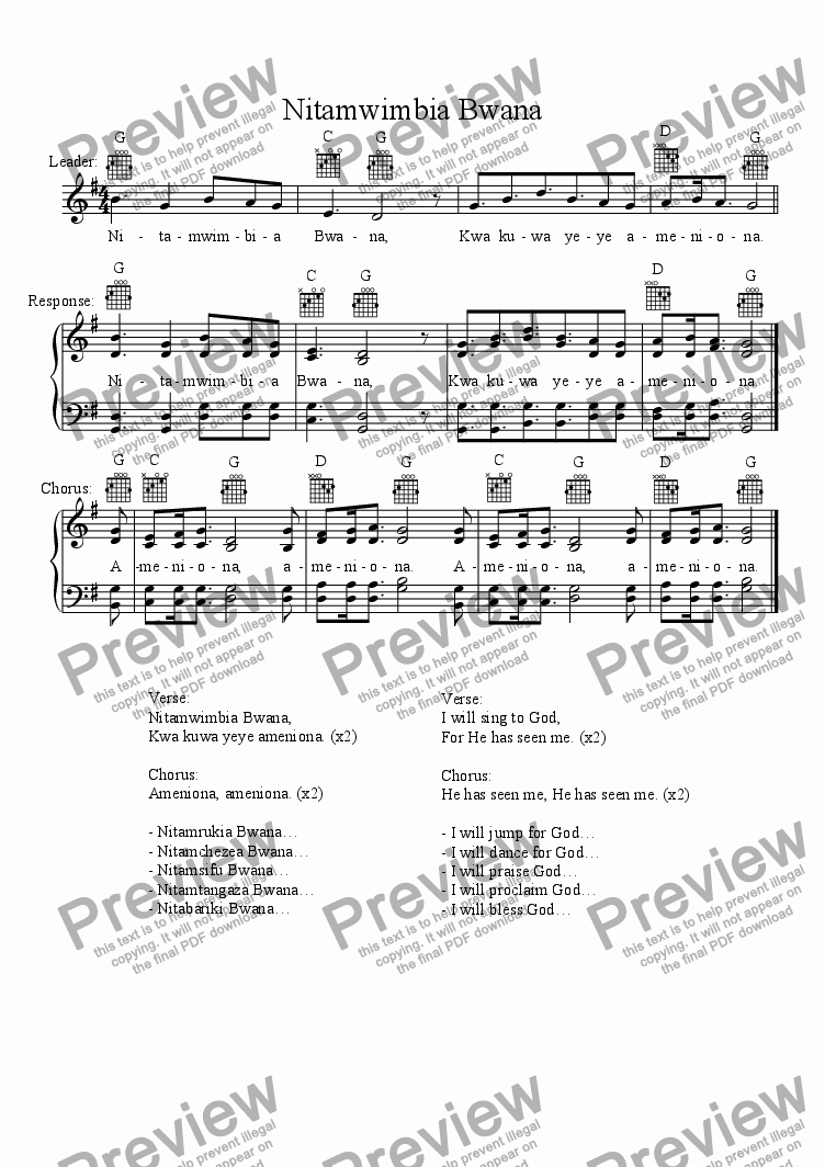 page one of Nitamwimbia Bwana (Swahili Hymn)