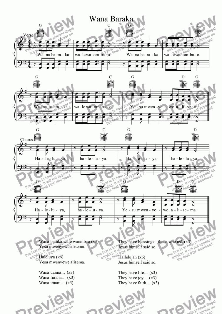 Wana Baraka (Swahili Hymn) for Voice + keyboard by Traditional - Sheet  Music PDF file to download