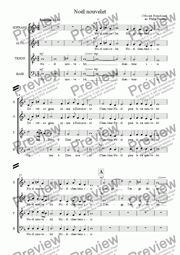 Noël nouvelet (SATB) for Choir by Traditional French noël - Sheet Music PDF  file to download