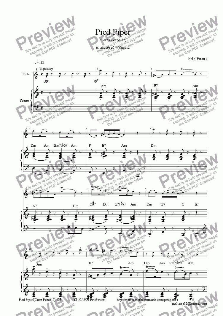 page one of Pied Piper [advanced Recorder or Flute solo + pno]