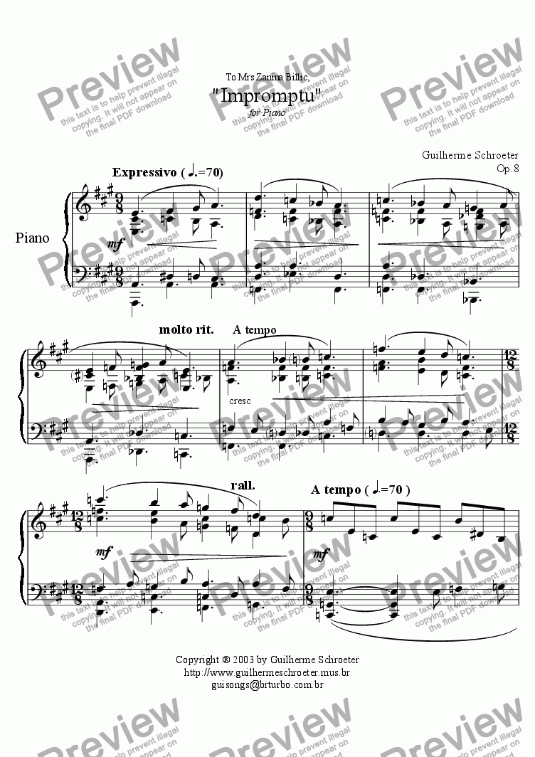page one of Op.008 - Impromptu for Piano (A Major)