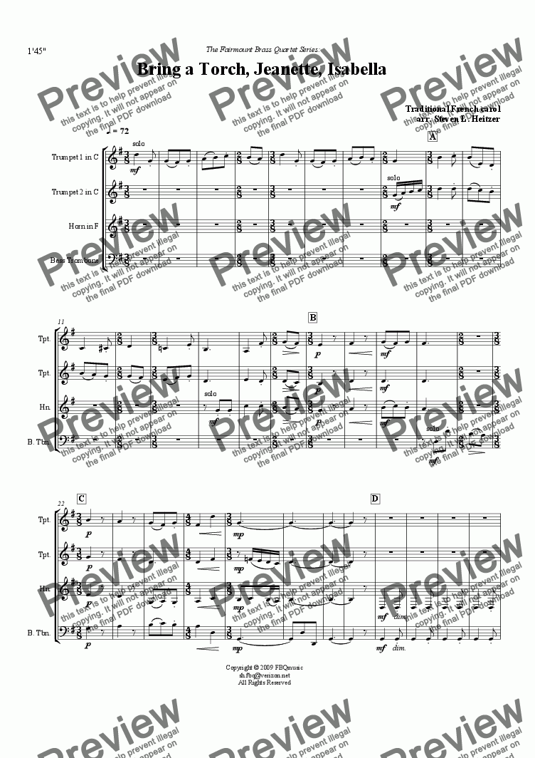 page one of Bring a Torch, Jeanette, Isabella - Brass QUARTETASALTTEXT