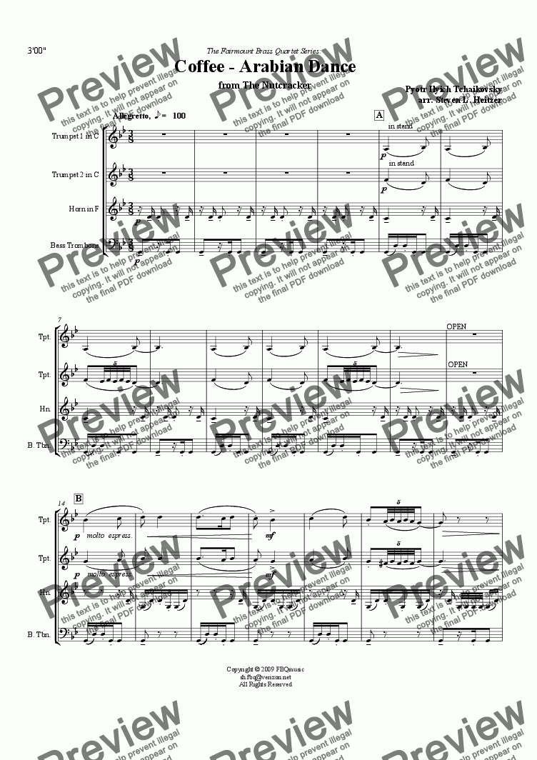 page one of Coffee / Arabian Dance, from the Nutcracker - Brass QUARTETASALTTEXT
