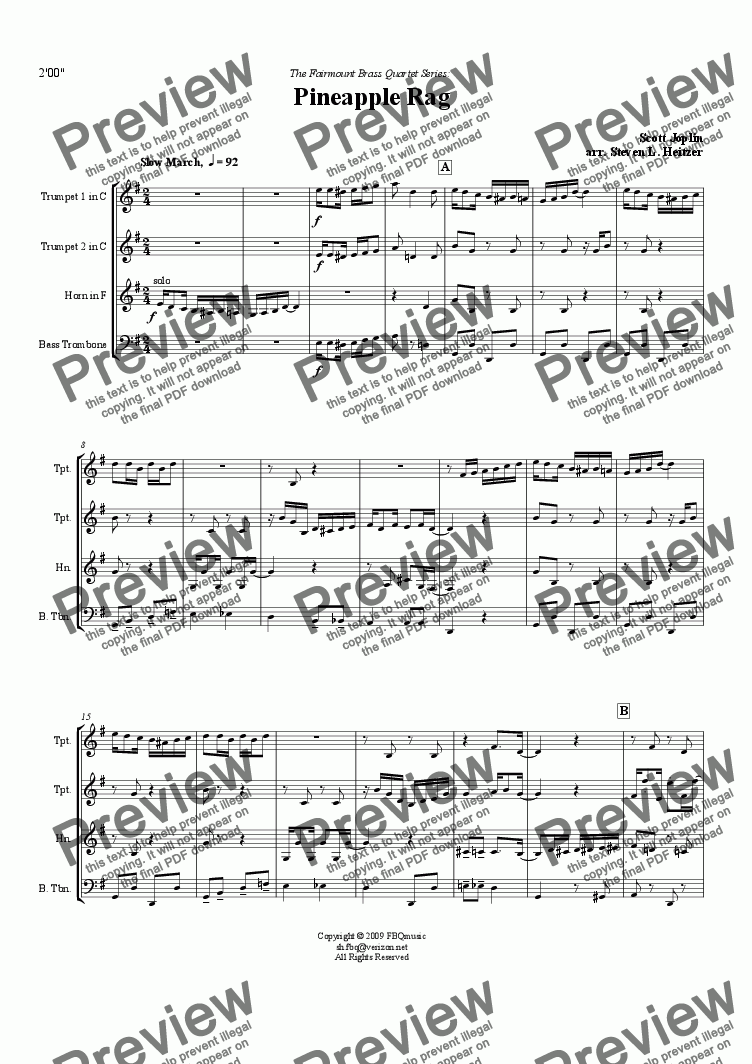 page one of Pineapple Rag - Brass QUARTET