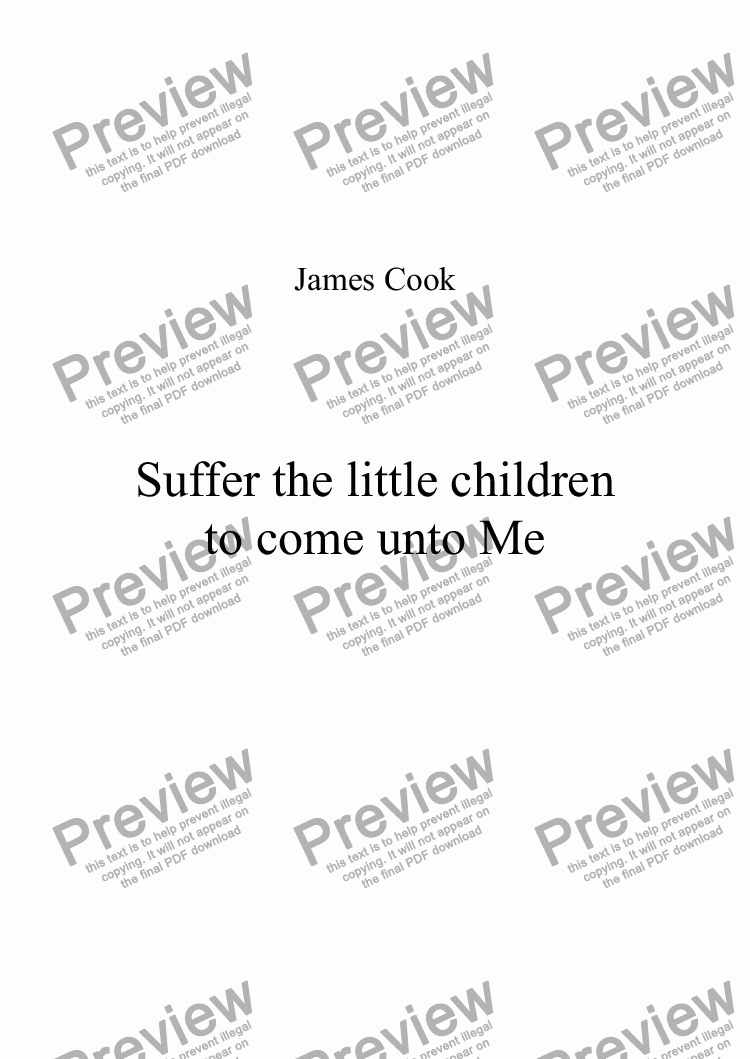 page one of Suffer the little children to come unto Me