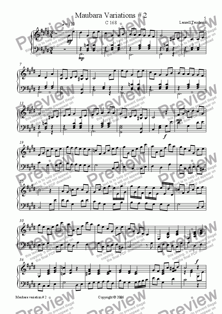 page one of Maubara suite # 2 for piano