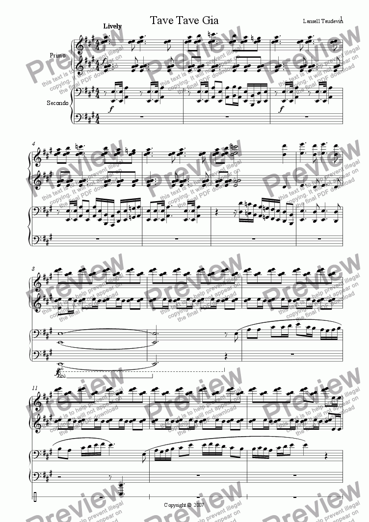 page one of Piano for Four Hands # 2 (Tave Tave Gia)