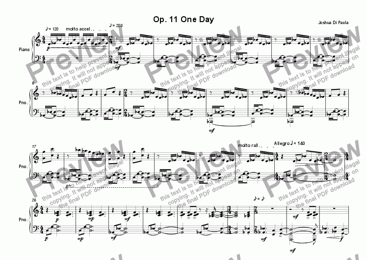 page one of Op. 11 One Day