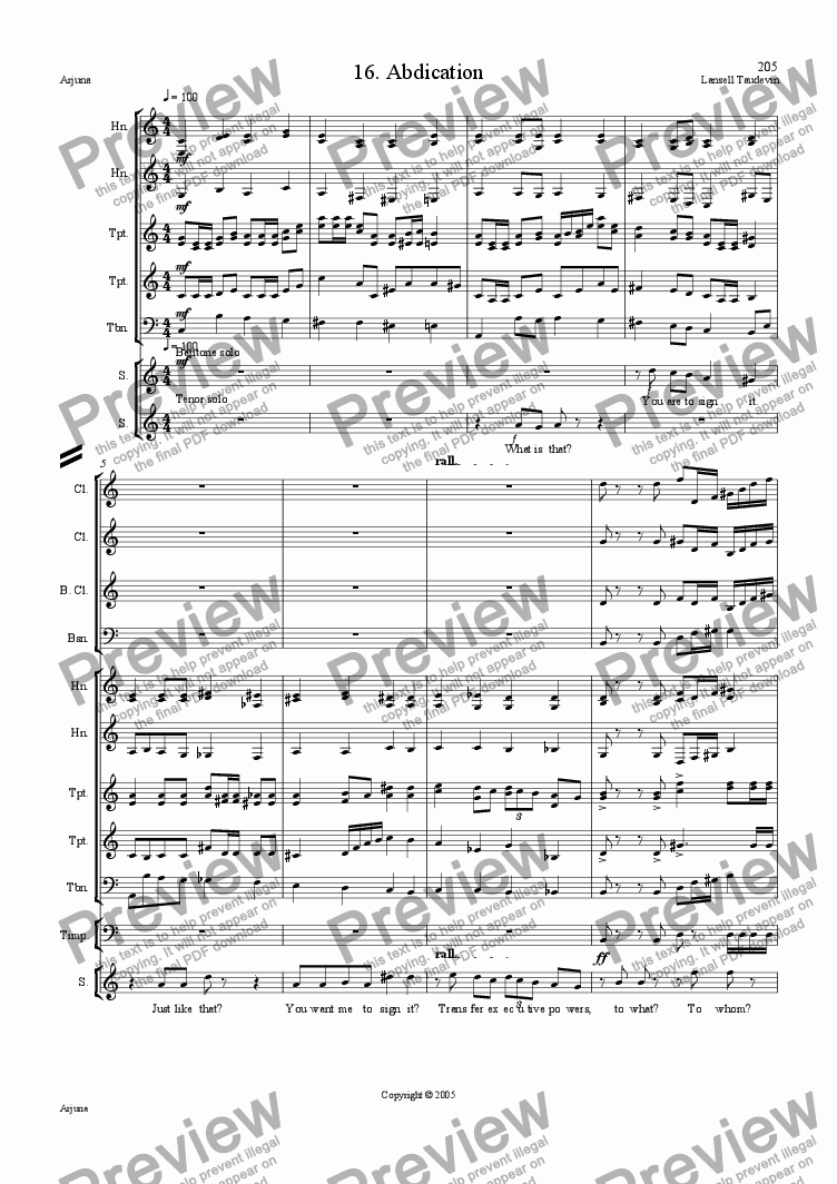 page one of Arjuna (Orchestrated) 16 Abdication