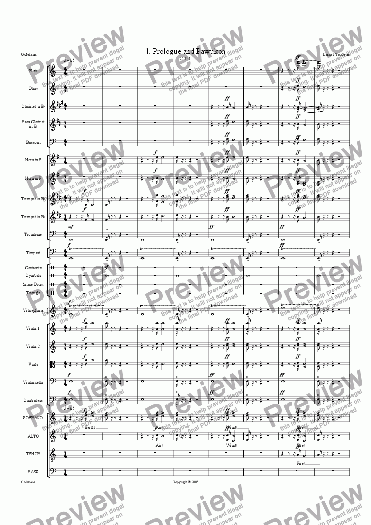 page one of Golekana (Orchestrated) 1 Prologue and Pawukon