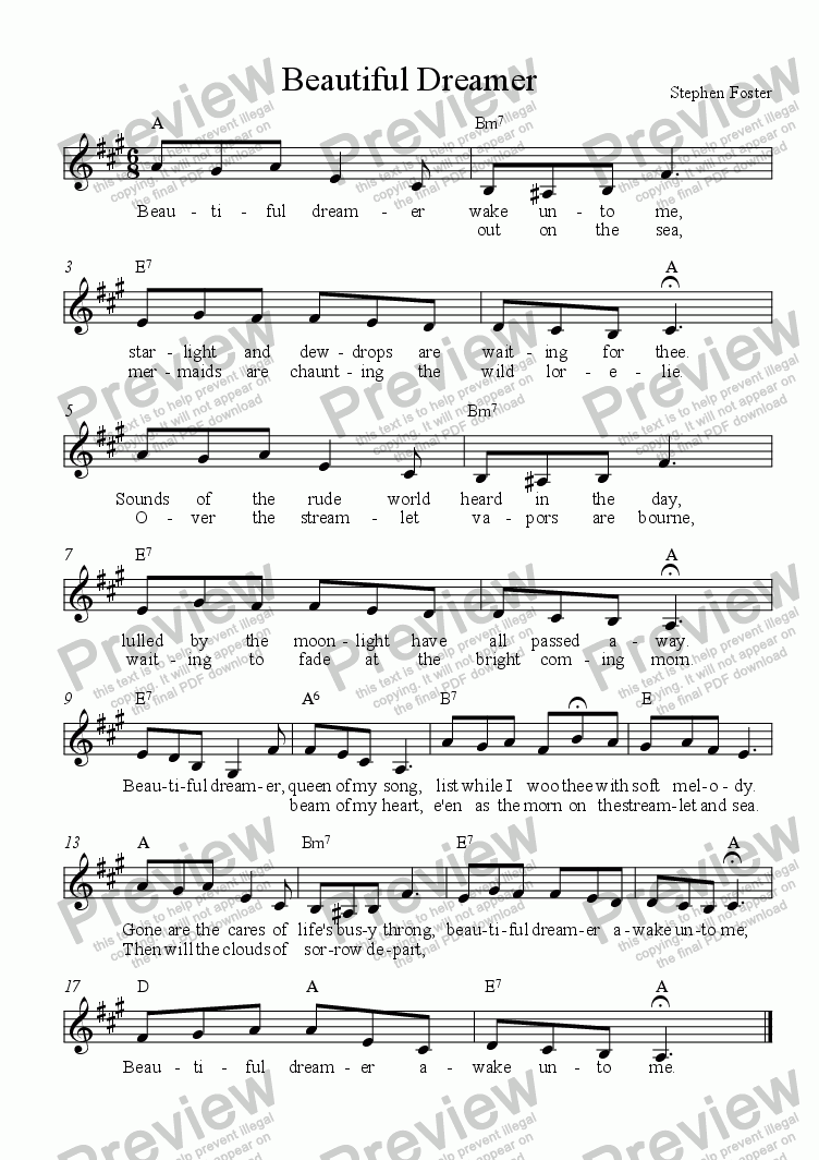 page one of Beautiful Dreamer - Lead Sheet in Singable KeyASALTTEXT