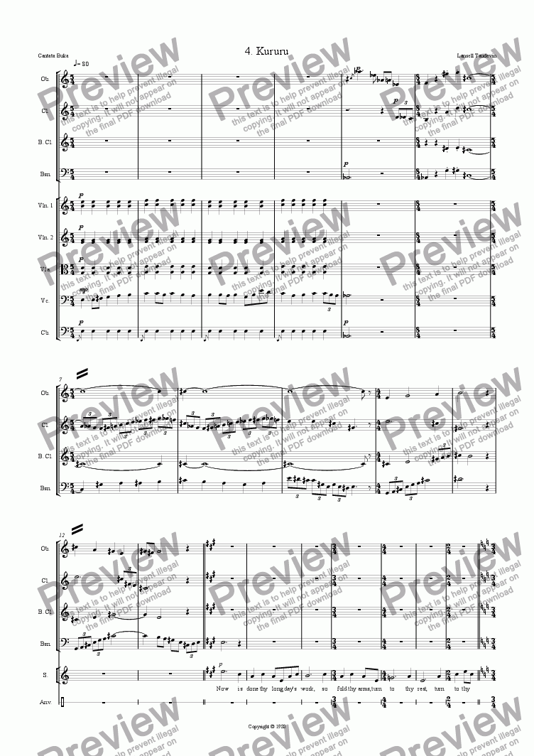 page one of Cantata Buka (Orchestrated) 04 Kururu