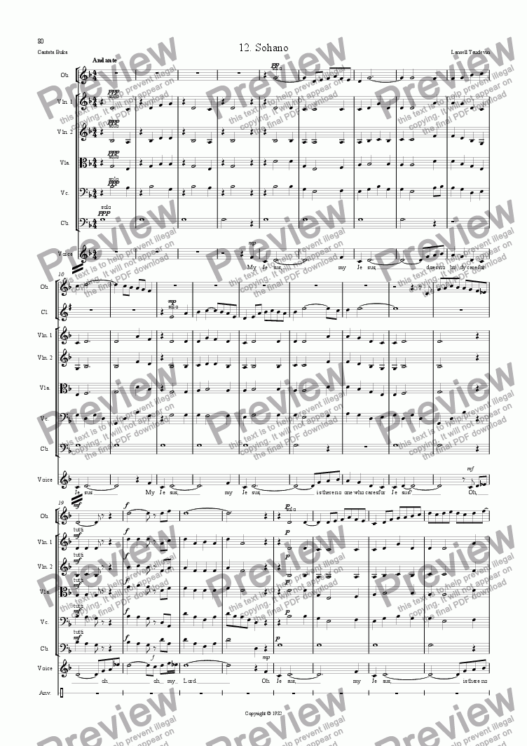 page one of Cantata Buka (Orchestrated) 12 Sohano