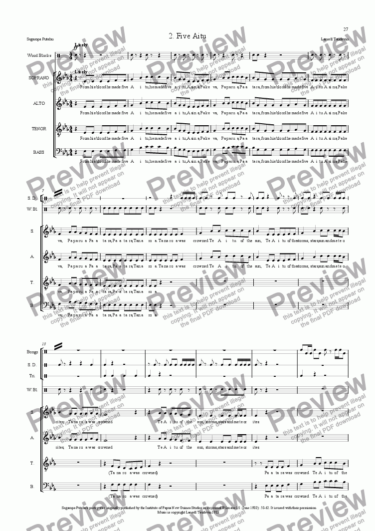 page one of Segaropa (Orchestrated) 02 Five AituASALTTEXT