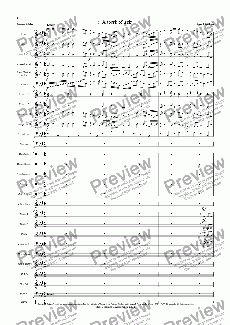 page one of Segaropa (Orchestrated) 05 Spark of LIght
