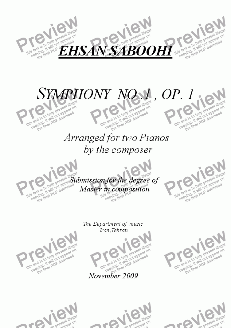 page one of SYMPHONY NO,1 ,OP, 1 (Arranged for two Pianos)