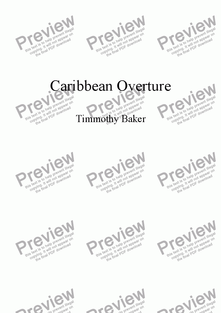 page one of Caribbean Overture