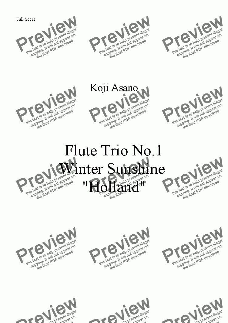 page one of Flute Trio -Winter Sunshine- No.1 Holland