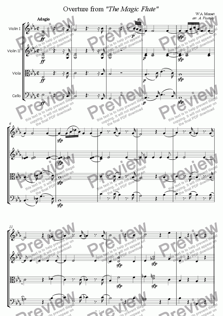 page one of The Magic Flute Overture