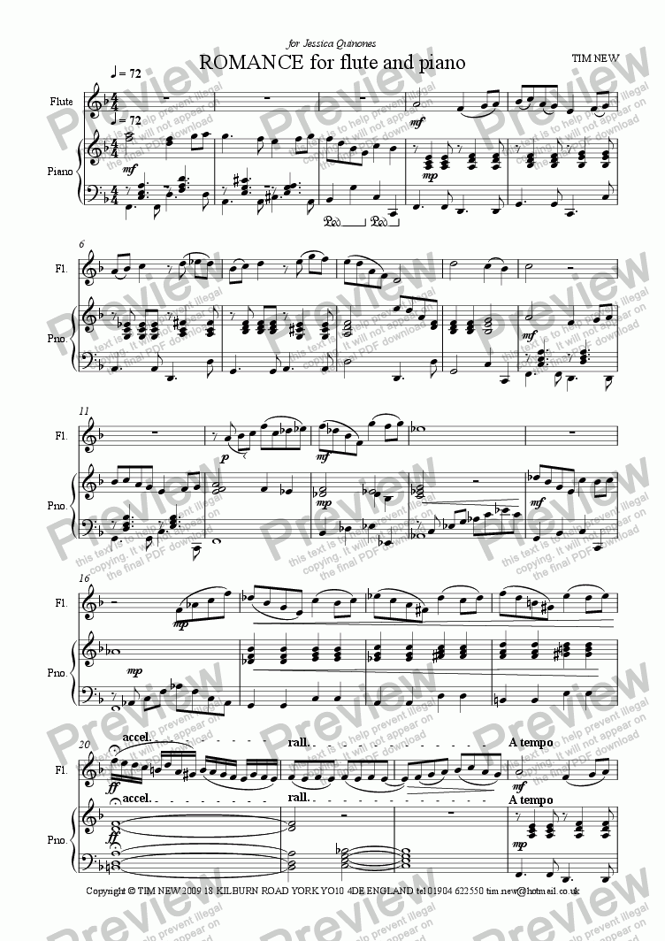 page one of ROMANCE for flute and piano
