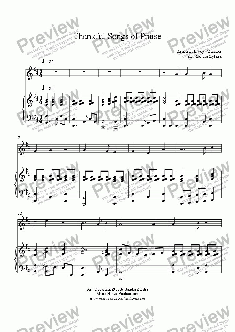 page one of Thankful Songs of Praise (Solo Instrument & Piano)ASALTTEXT