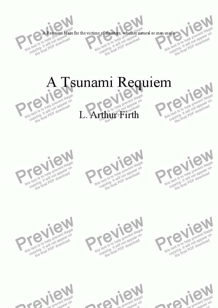 page one of A Tsunami Requiem - Church Version - Introitus