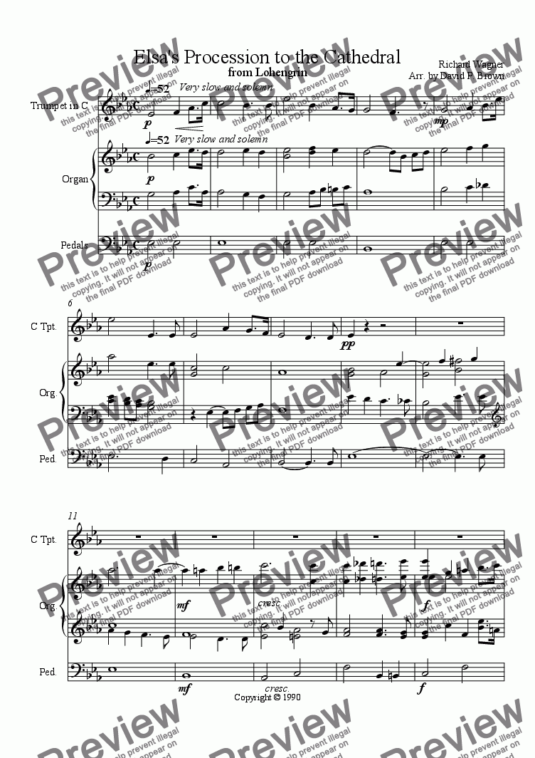 page one of Elsa's Procession to the Cathedral for Trumpet and Organ