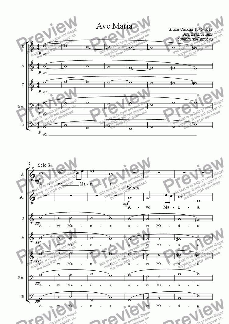 page one of Ave Maria By Caccini for Soloists (S, A) and SATBarB Choir accapella